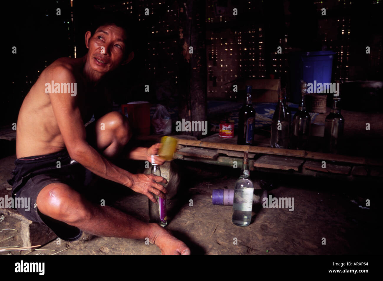 The proprietor of moonshine still in northern Laos 2004 - Stock Image