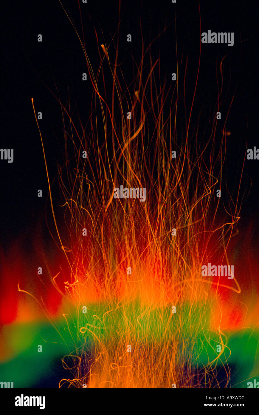 special effect abstract spark trails flames color burst Stock Photo
