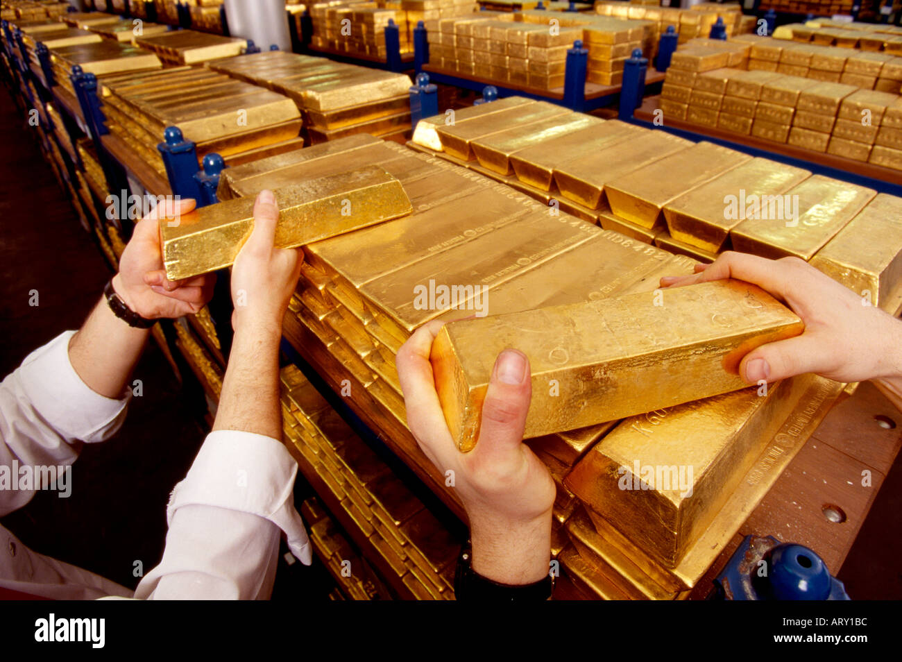 Gold bars ingots in the Gold vault under the Bank of England in Threadneedle Street London England - Stock Image
