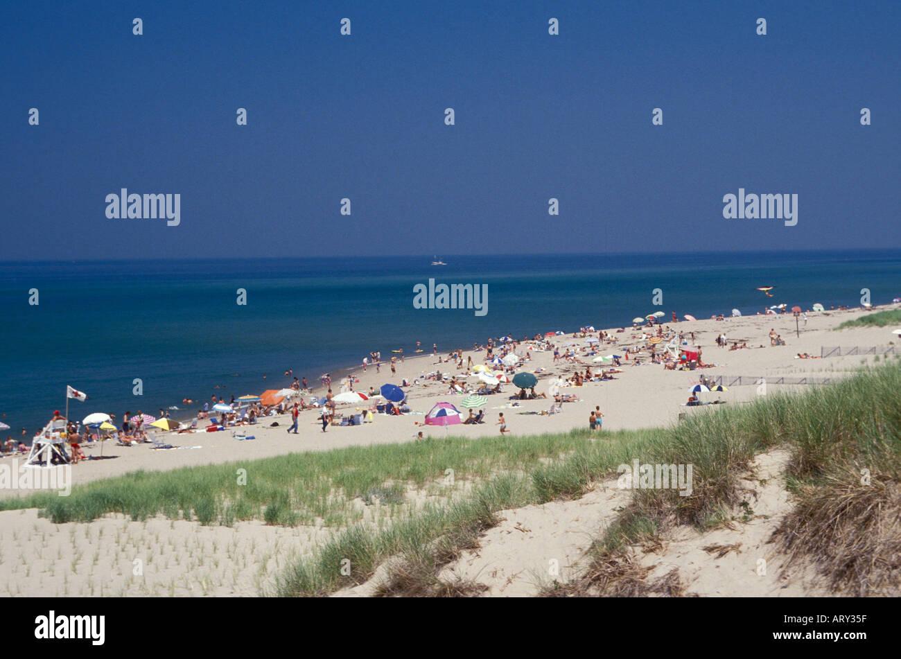 Public swimming and sun bathing at Cape Cod National Seashore Massachusetts - Stock Image