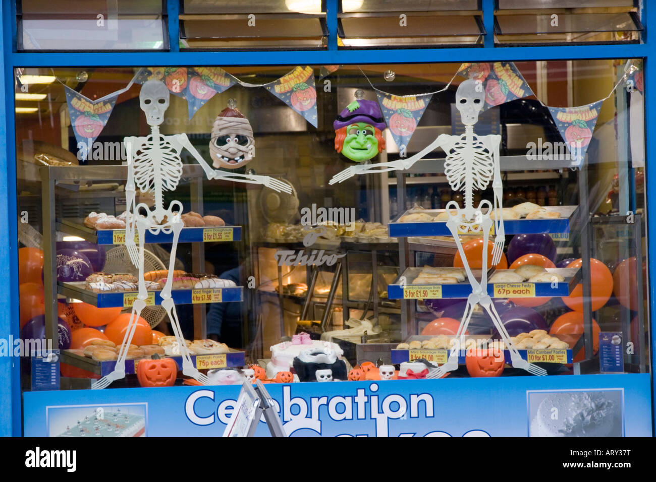 Halloween Shop Displays.Halloween Props And Costumes In A Shop Window Display Stock Photo