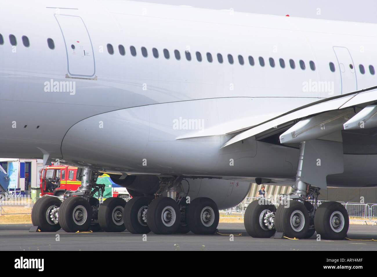 Undercarriage of the Airbus 340 600 - Stock Image