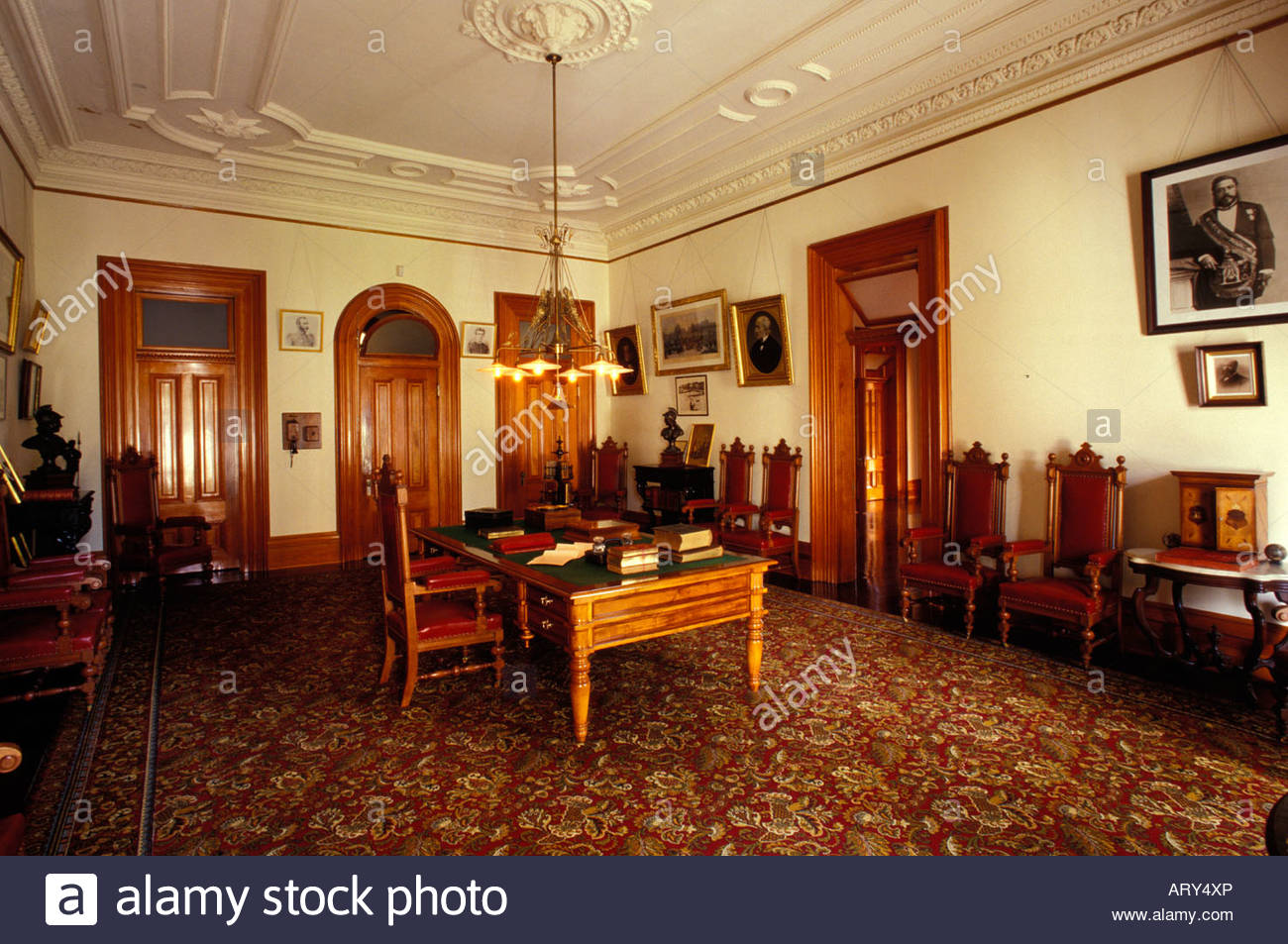 Display Of Royal Furniture And Artifacts In Iolani Palace, A 4 Story  Italian Renaissance Palace Built In 1882 Downtown Honolulu