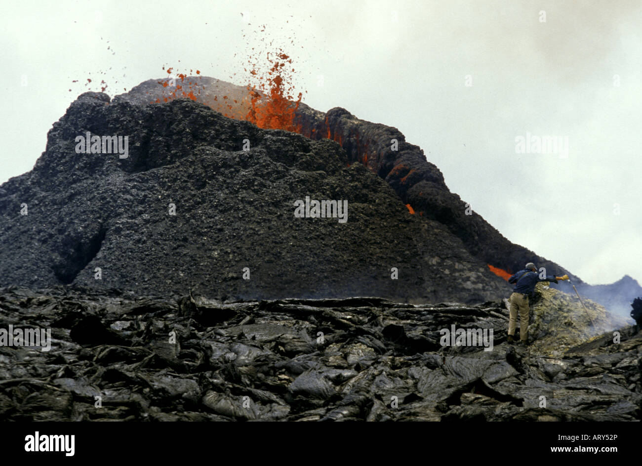 Fountaining eruption from Kilauea's first eruption in 1983 at puu oo vent, Hawaii volcanoes national park, Big - Stock Image