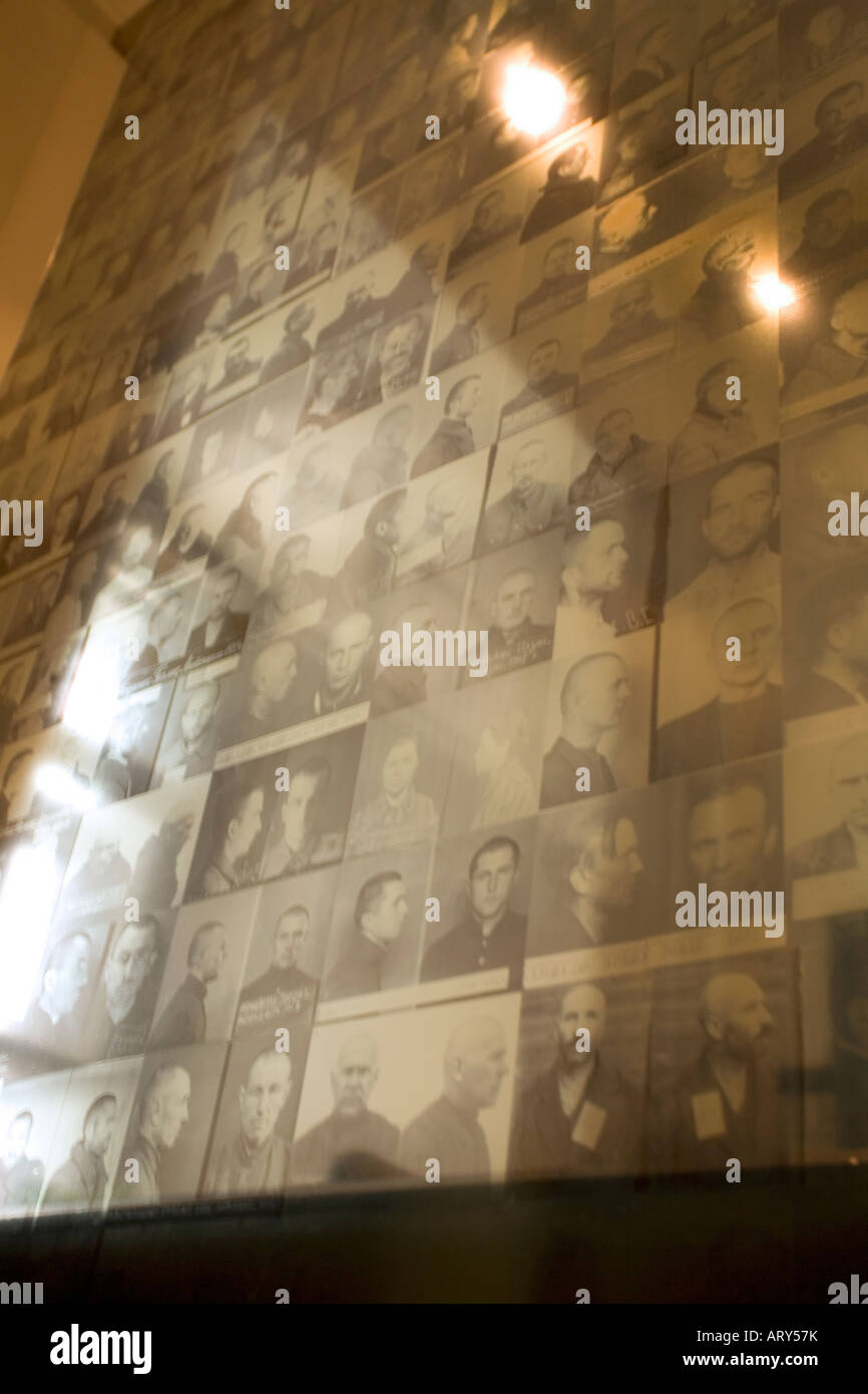 Photographs of victims at the Museum of Genocide Victims in Vilnius Lithuania. Used by the Gestapo and KGB as a - Stock Image