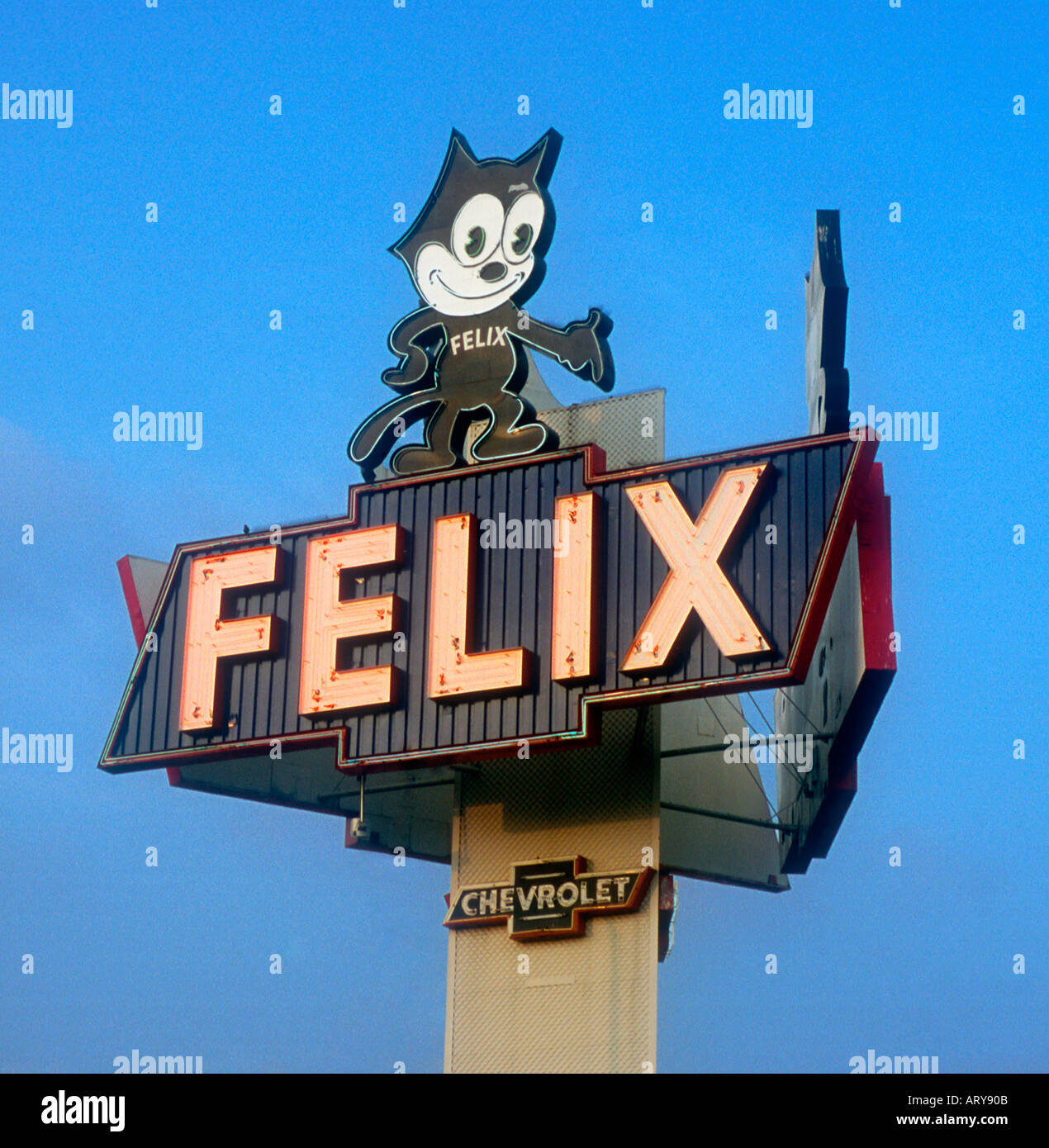 Felix Chevrolet Sign For An Auto Dealer In Los Angeles California   Stock  Image