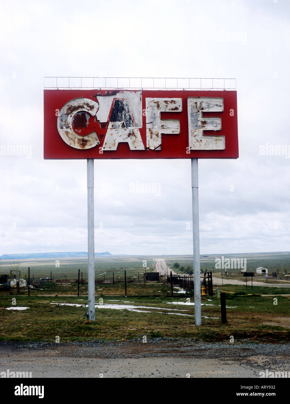 Old Cafe sign on old Route 60 in Vaughn New Mexico - Stock Image