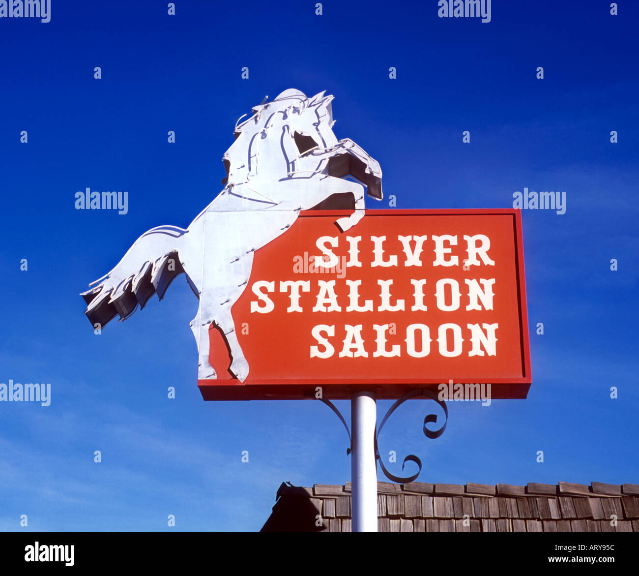 Silver Stallion Saloon sign on old Route 66 in Gallup New Mexico - Stock Image