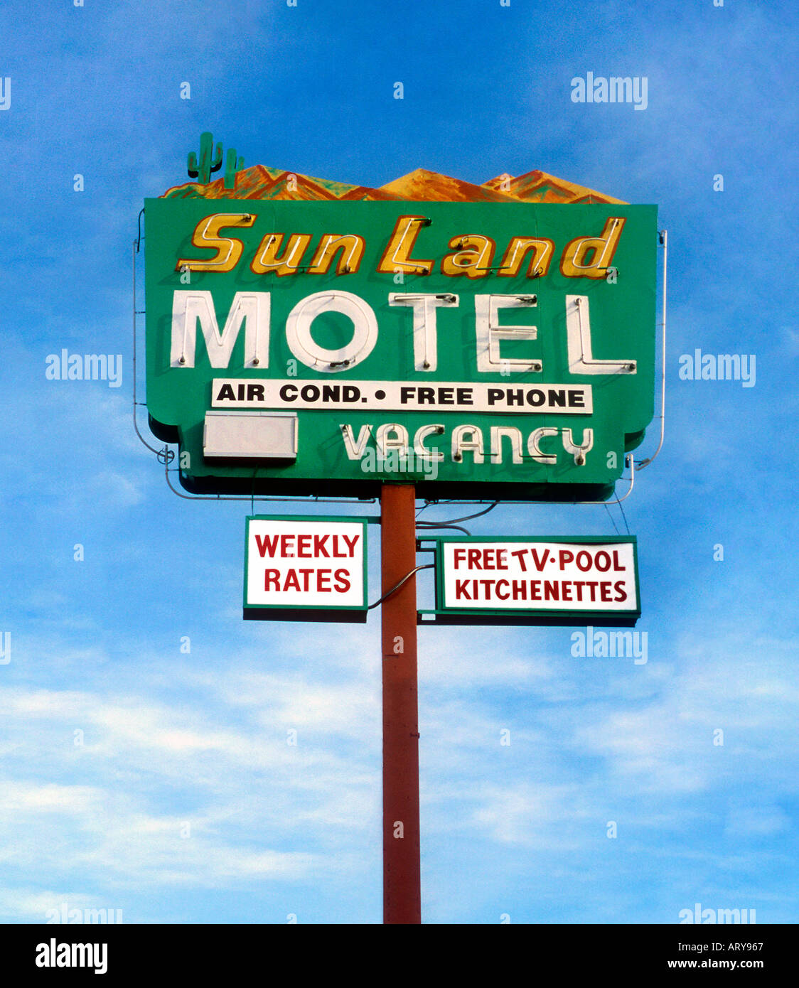 Sun Land Motel sign in Tucson Arizona Stock Photo: 3012966