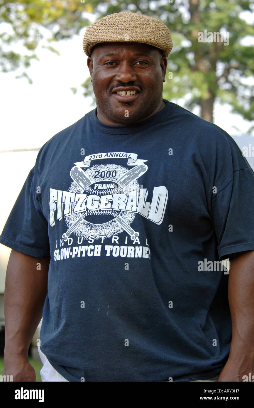 A Portrait of an over weight black Male wearing a flat cap Stock ... a8c7e371d37