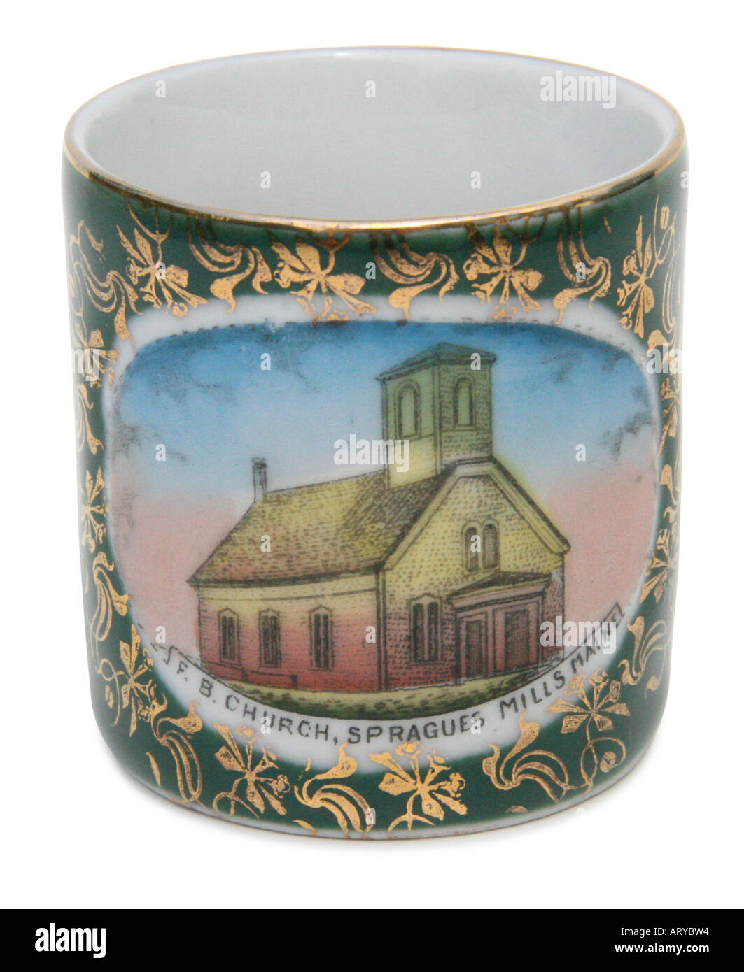 Circa 1890's souvenir china depicting the Free Baptist Church in Spragues Mills, Maine, USA. This image has a clipping path. - Stock Image