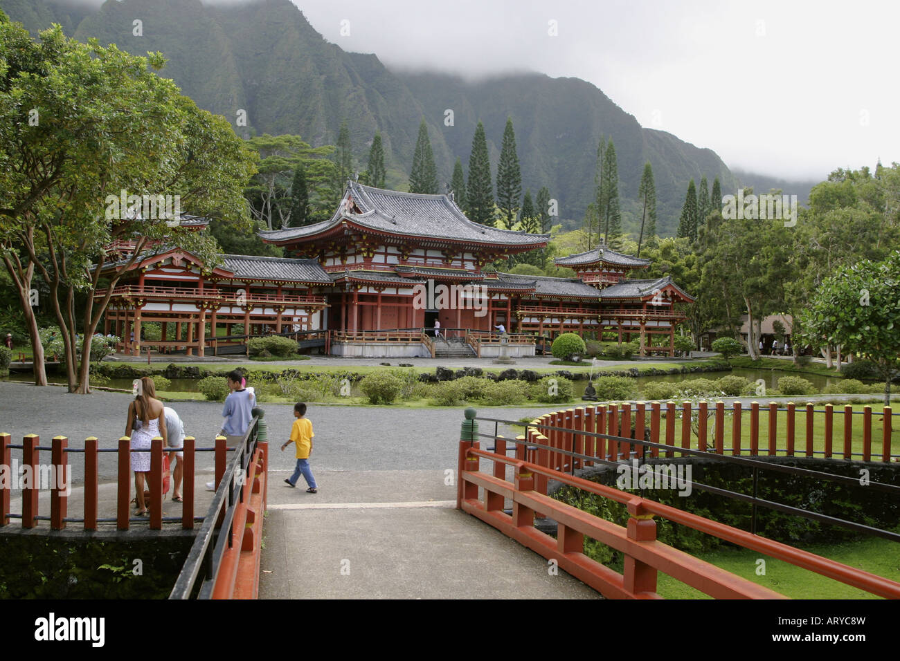 Beautiful Byodo-in Temple. An exact replica of the 900 year old Byodo-in Temple at Uji,japan. Located in the Valley - Stock Image