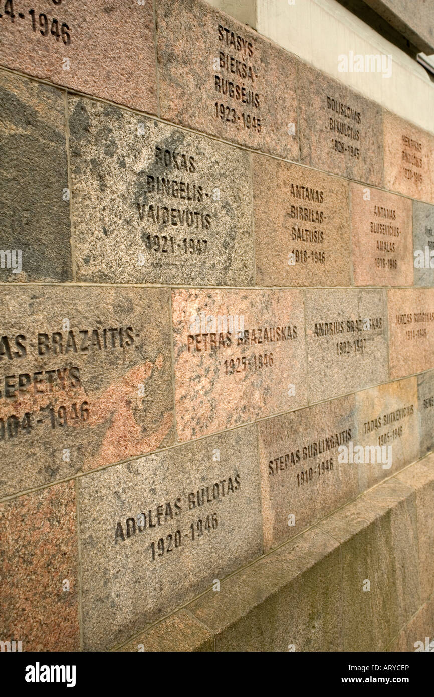 Memorial plaques on the Museum of Genocide Victims in Vilnius Lithuania. Used by the Gestapo and KGB as a prison - Stock Image