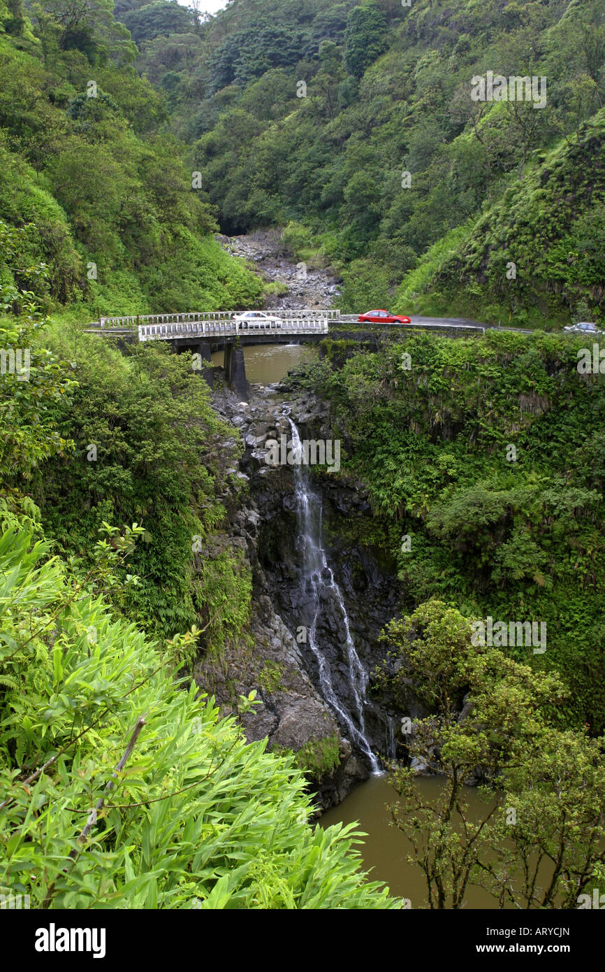 Hairpin turns, waterfalls ,and breathtaking scenery are all on the Road to Hana, Maui. - Stock Image