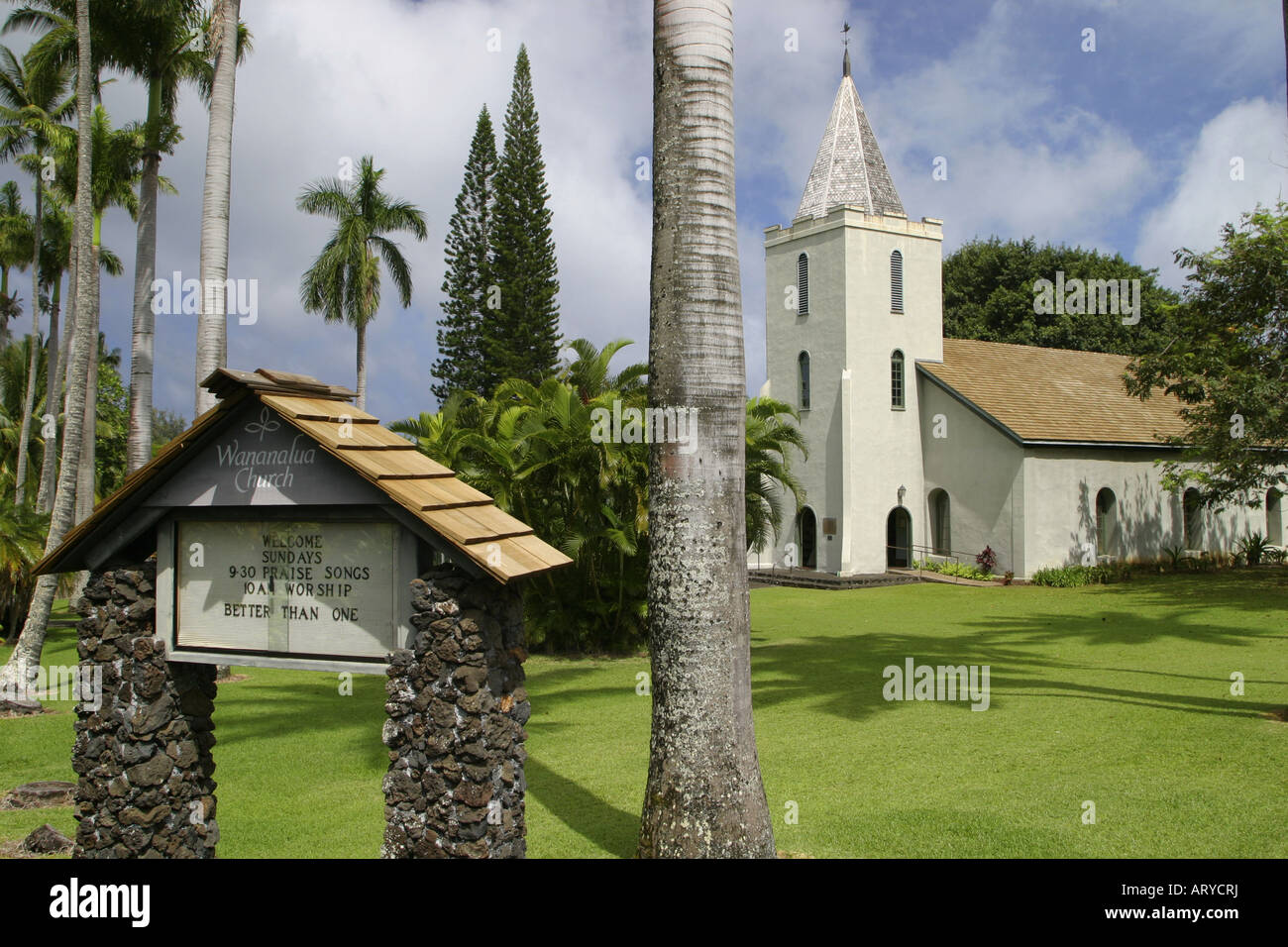 The glorious old Wananalua Church located in the heart of Hana. A must see stop in this quaint Maui town. - Stock Image