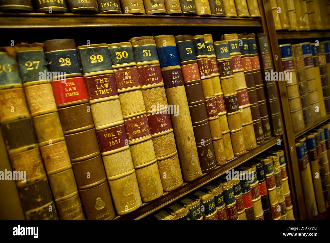 Law books in the library of the Middle Temple in the Inns of Court in London England - Stock Image