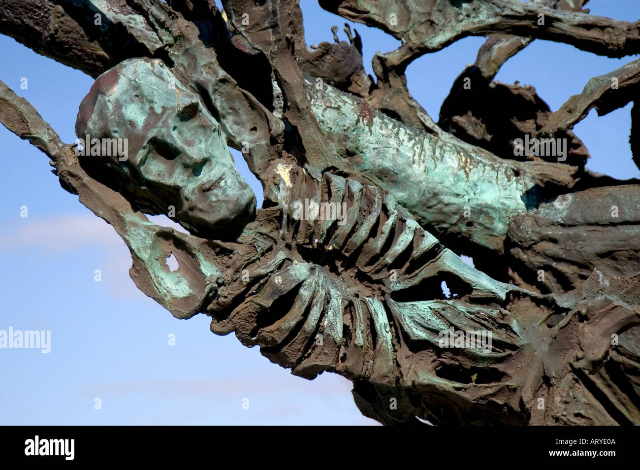 Detail of Famine Memorial sculpture Murrisk Co Mayo - Stock Image