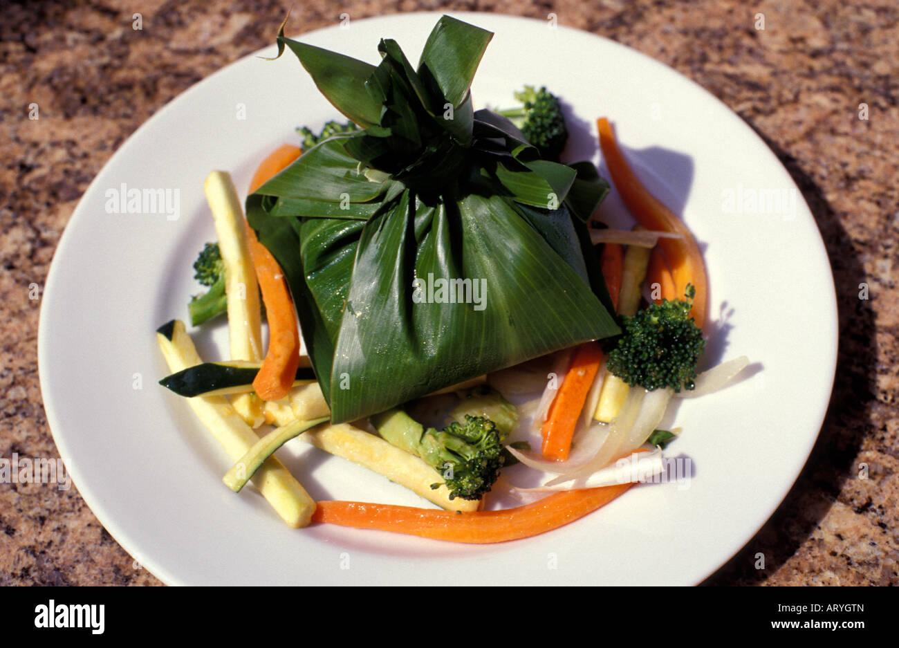 A Presentation Of Lau Lau A Hawaiian Meal Of Pork Chicken Or Fish Stock Photo Alamy