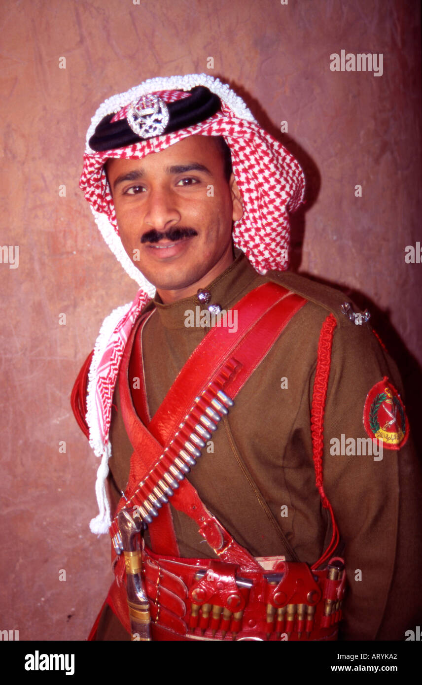 Official Guard on duty at the Treasury El Khazni Petra Jordan The Middle East - Stock Image
