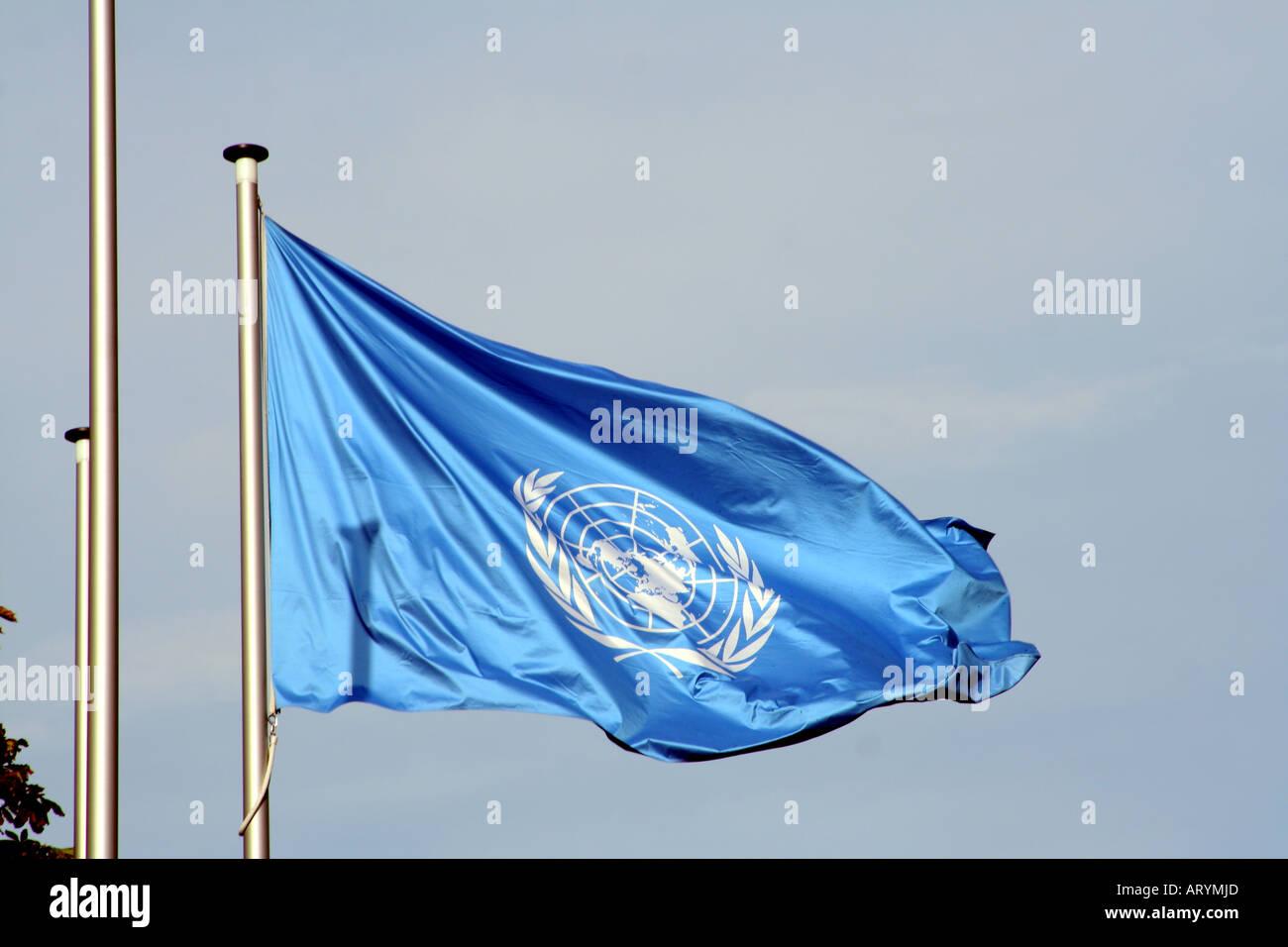 United Nations flag at Tall Eugen building Bonn North Rhine Westphalia Germany Europe - Stock Image