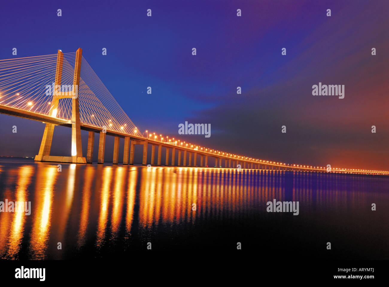Vasco da Gama bridge by night, Lisbon, Portugal - Stock Image