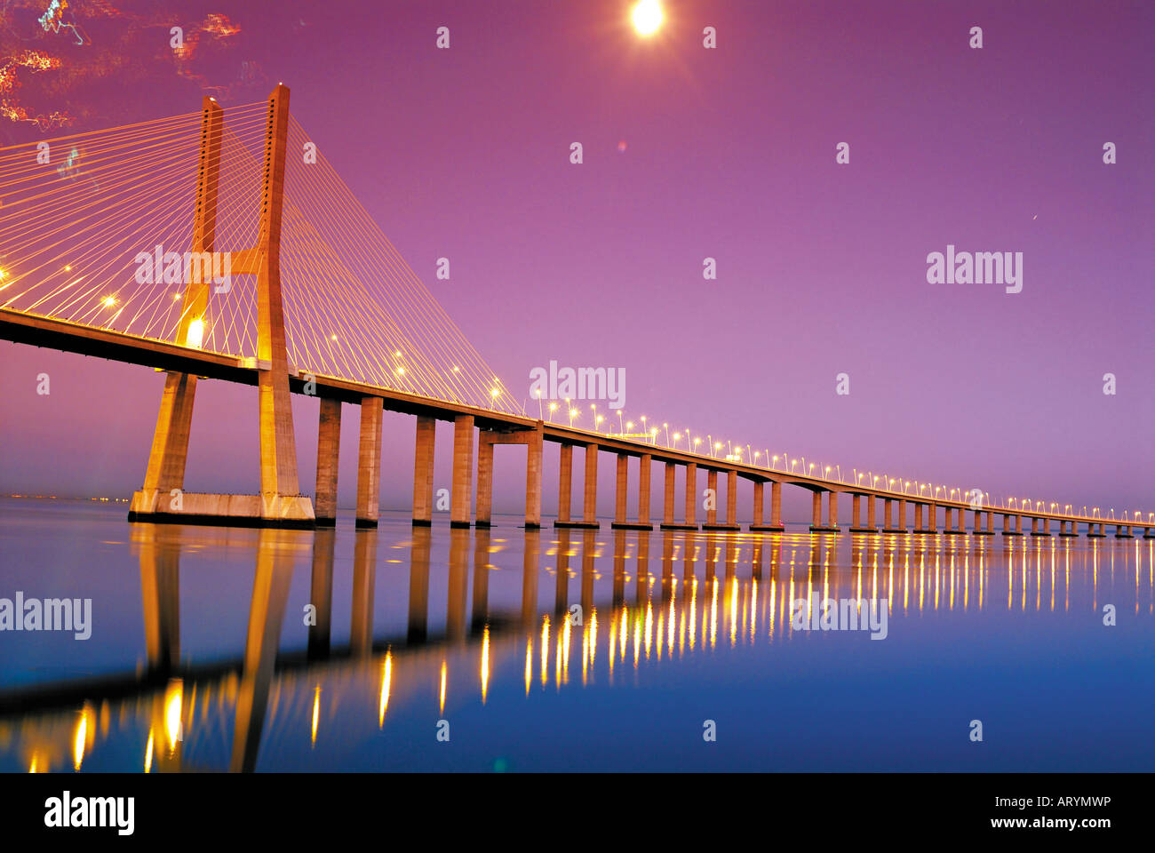 Vasco da Gama bridge by night, Lisbon, Portugal - Stock Image