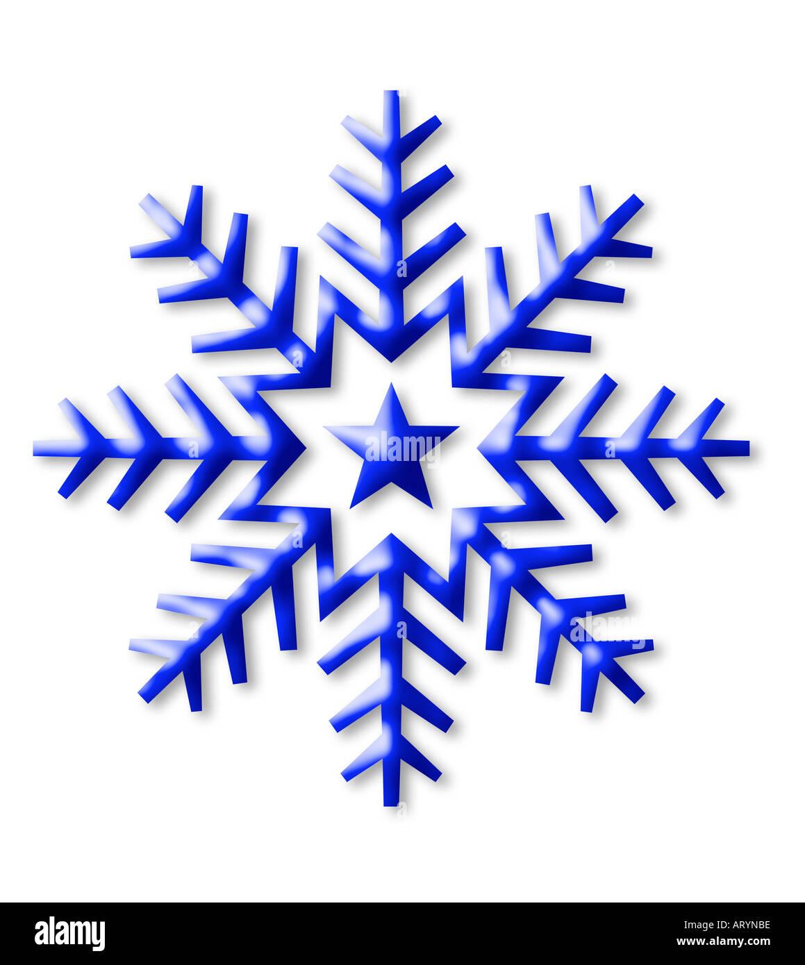 snow flake symbol, computer-illustration isolated on white - Stock Image