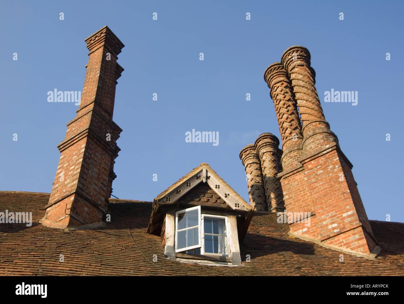Tudor Chimney Pots Albury Surrey UK - Stock Image
