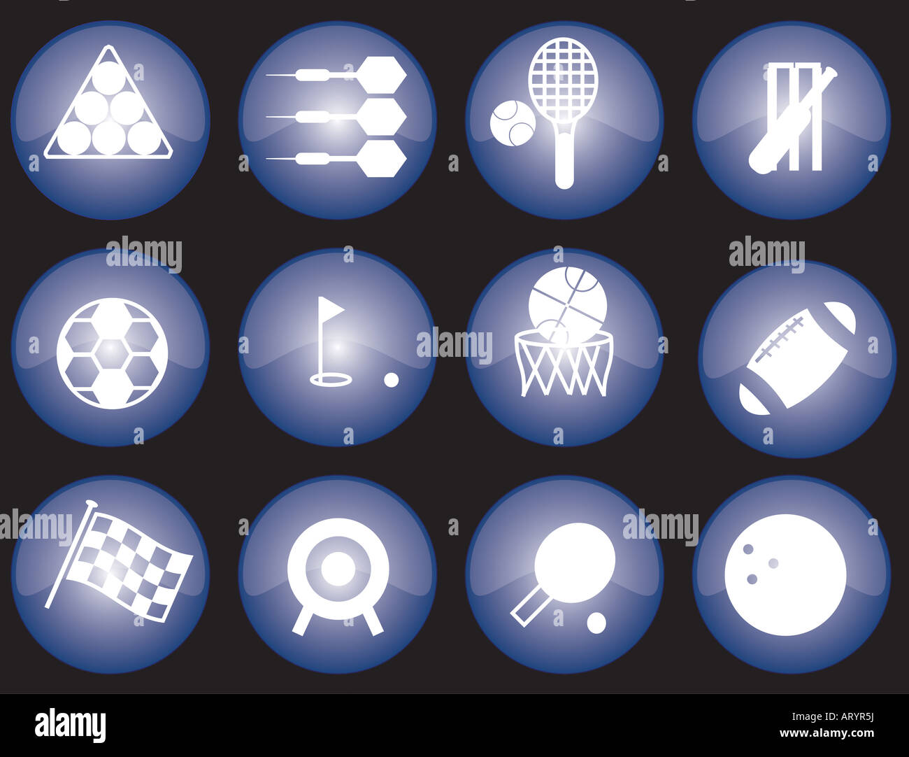 Assorted blue glazed sports icons and buttons - Stock Image