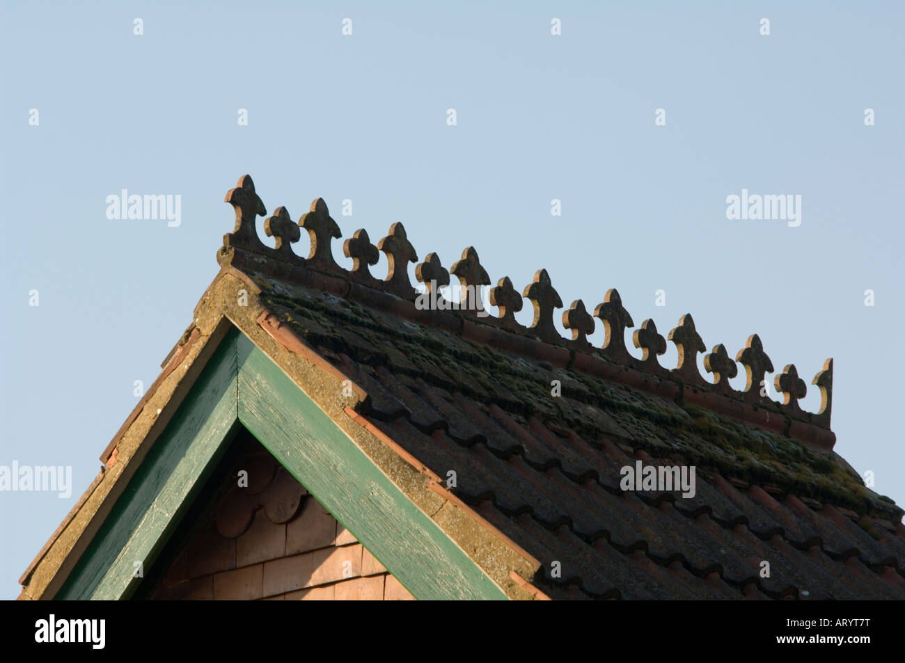 Rooftop Decorative Tiles Albury Surrey UK - Stock Image