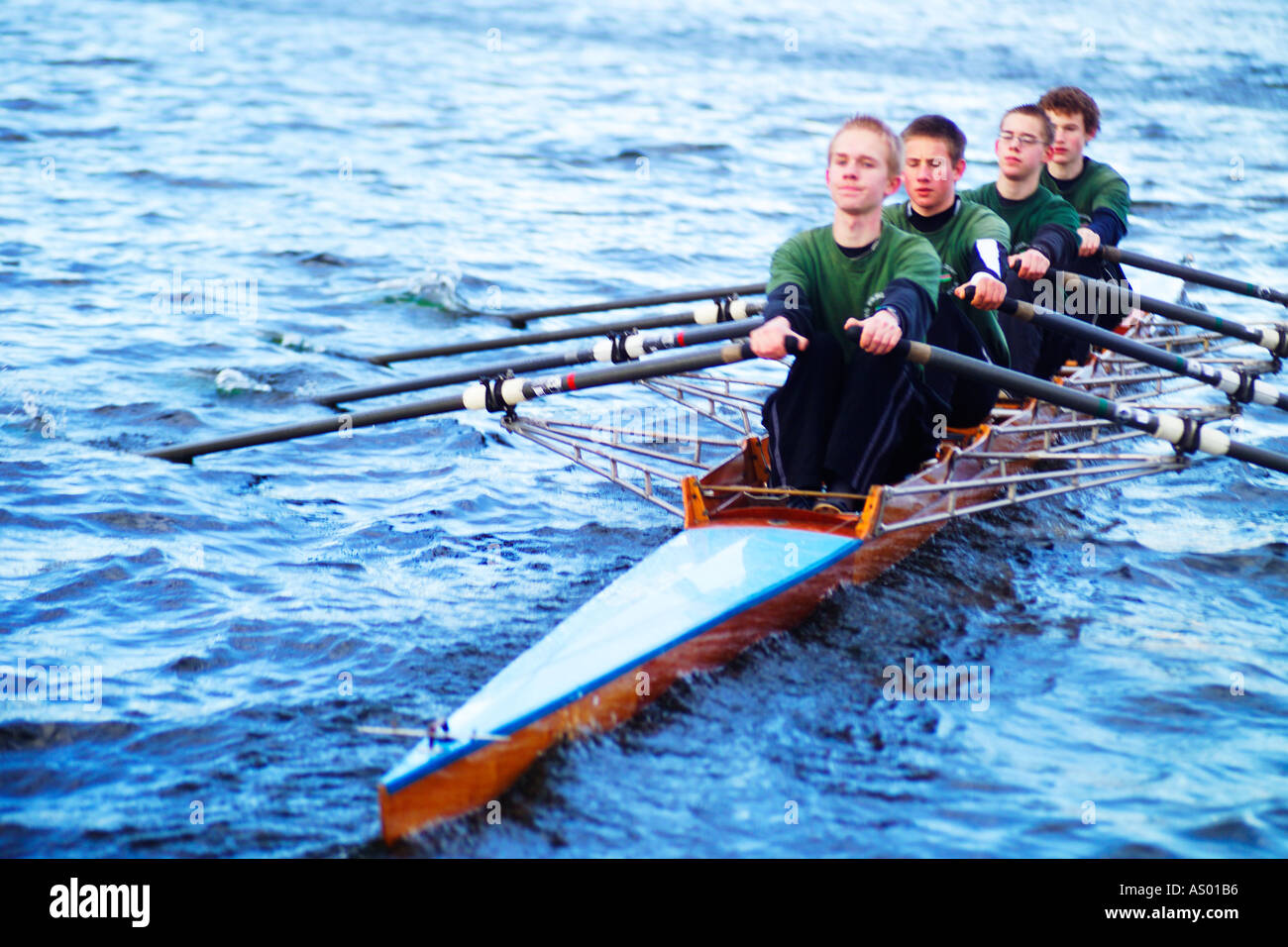 a four man rowing boat - Stock Image