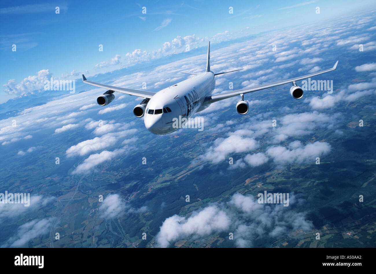 passenger aircraft in flight Airbus A340 - Stock Image