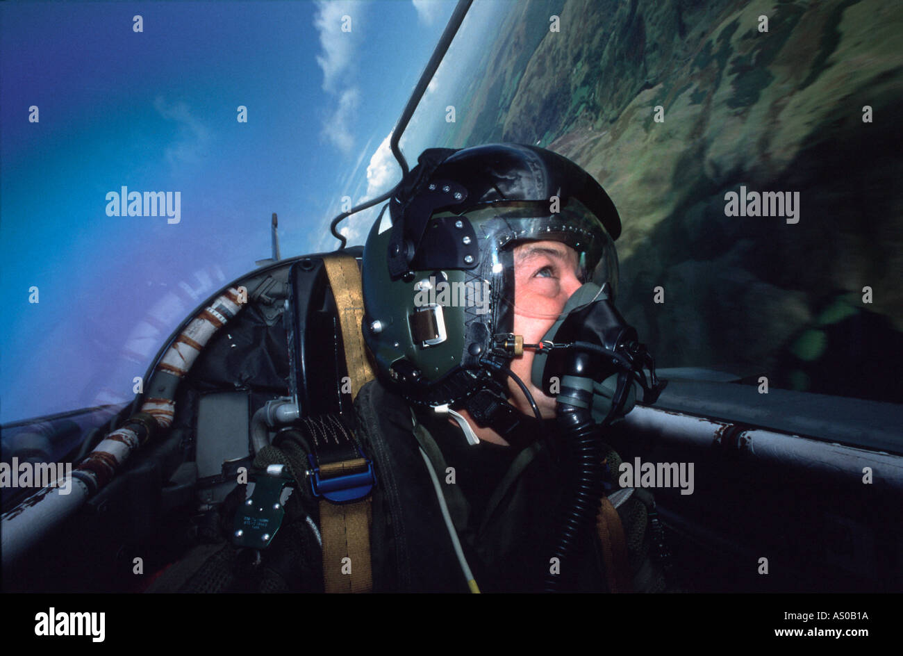 Pilot in cockpit of jet fighter aircraft - Stock Image