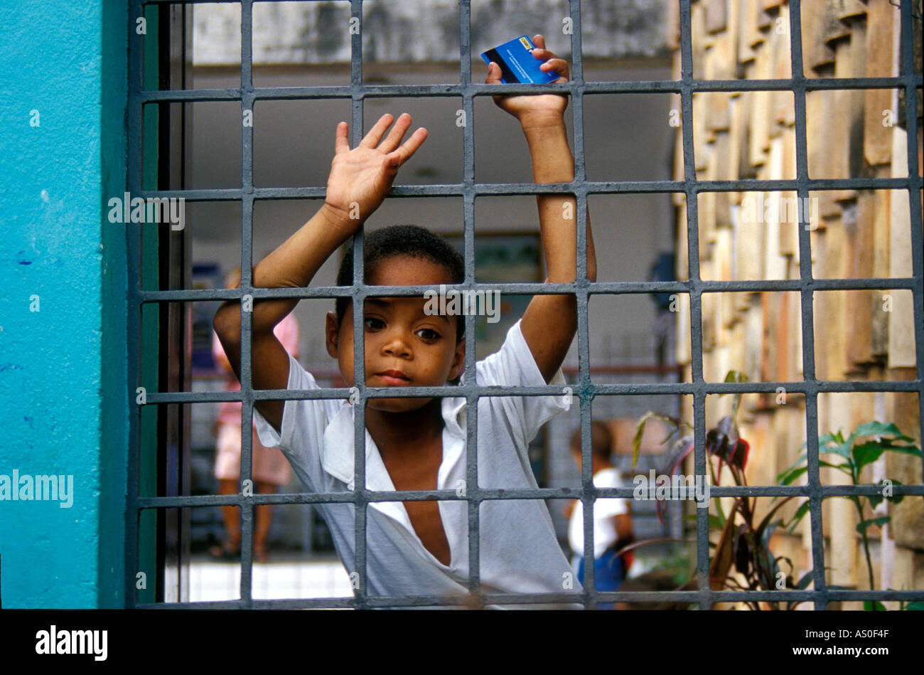 Young boy in Brazil at Pelourinno school - Stock Image