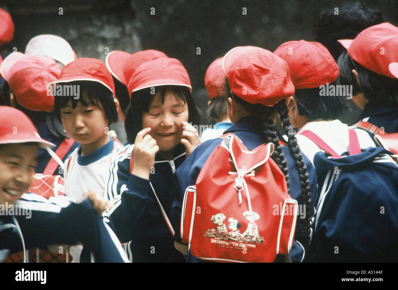 children at school class trip city of kyoto japan - Stock Image