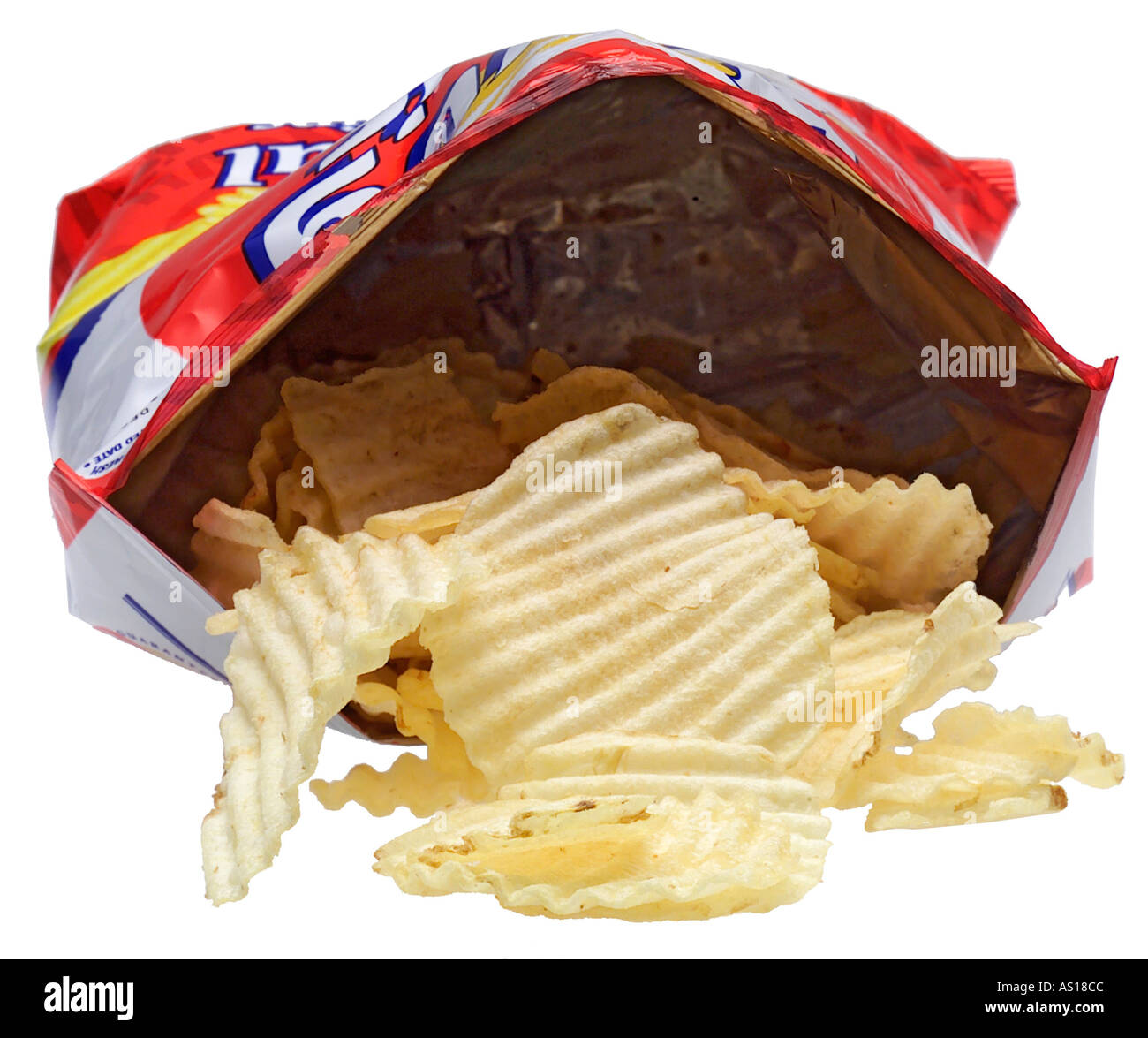 Bag of potato chips or crisps silhouetted on white background - Stock Image