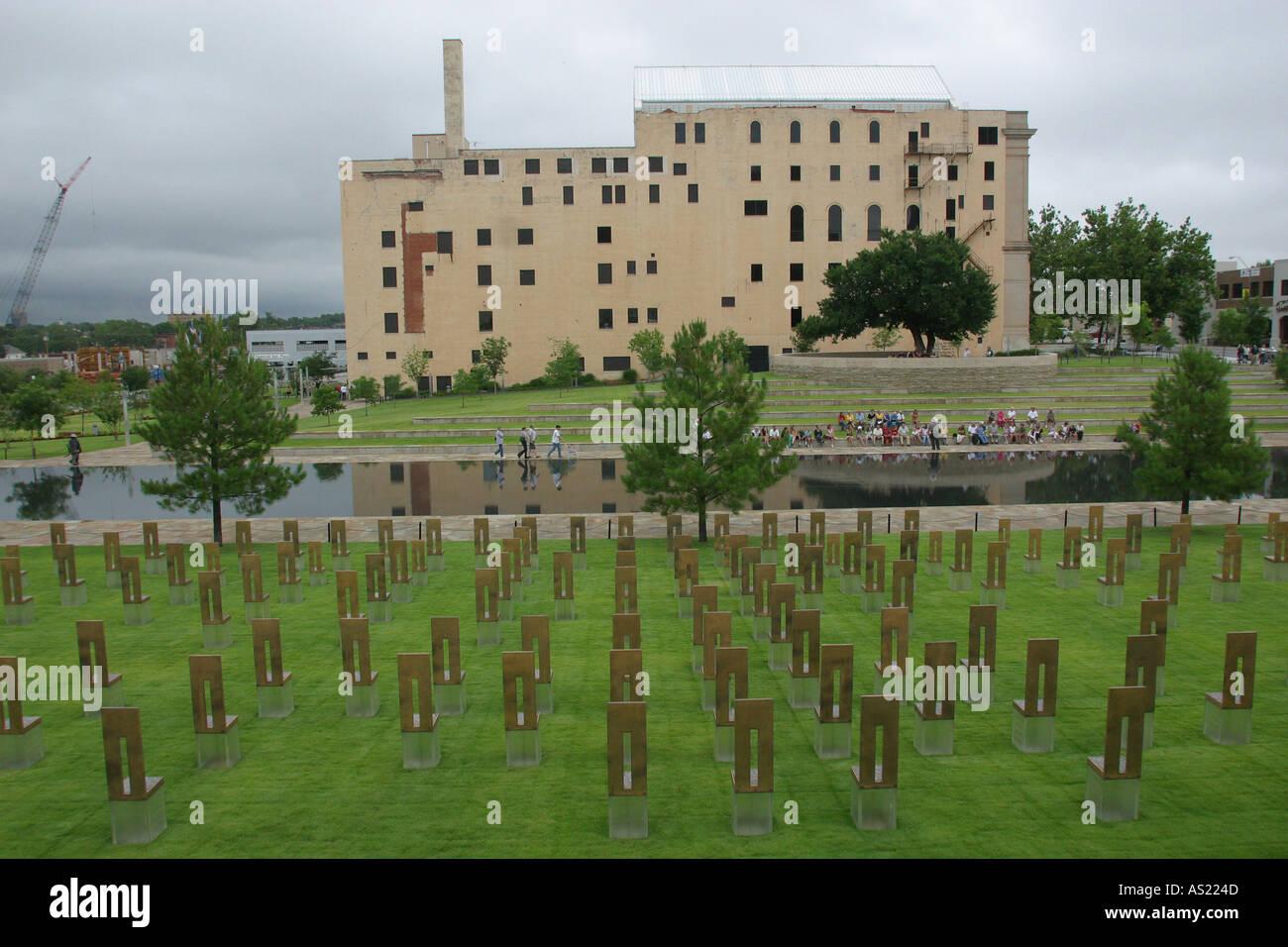 Oklahoma City bombing site memorial USA Each chair represents a victim Stock Photo