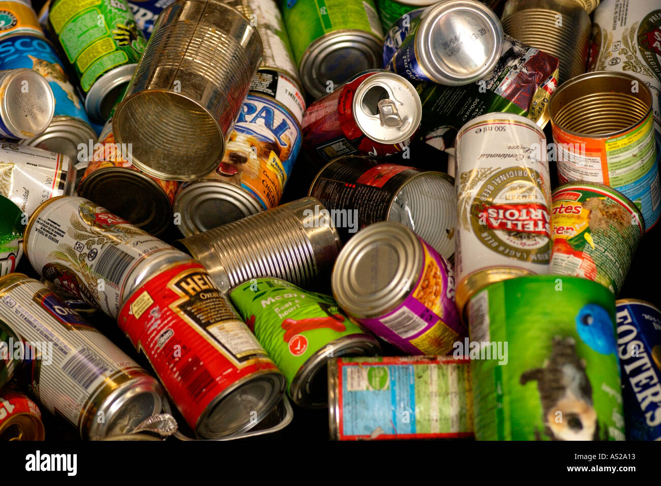 Metal cans collected by Wastesavers community recycling group from households in Newport South Wales Gwent UK - Stock Image
