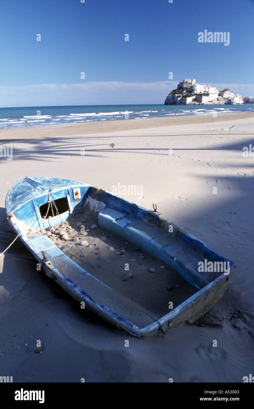 Peniscola, Strand, Ansicht mit Kastell - Stock Image