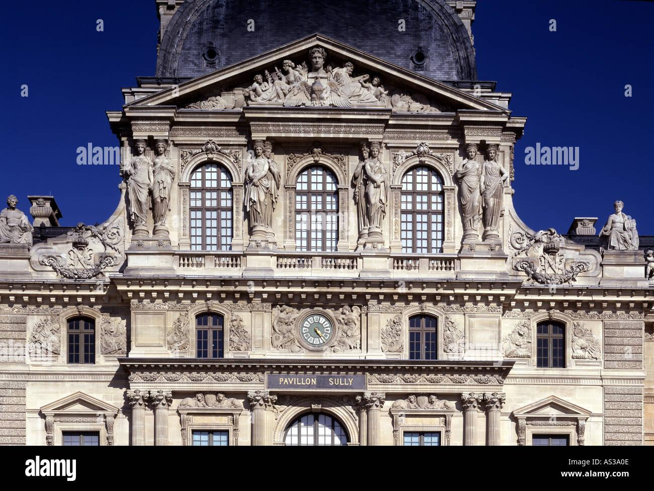 Paris, Louvre, Pavillon-de-l'Horloge, Karyatiden am Pavillon, 1636 - Stock Image