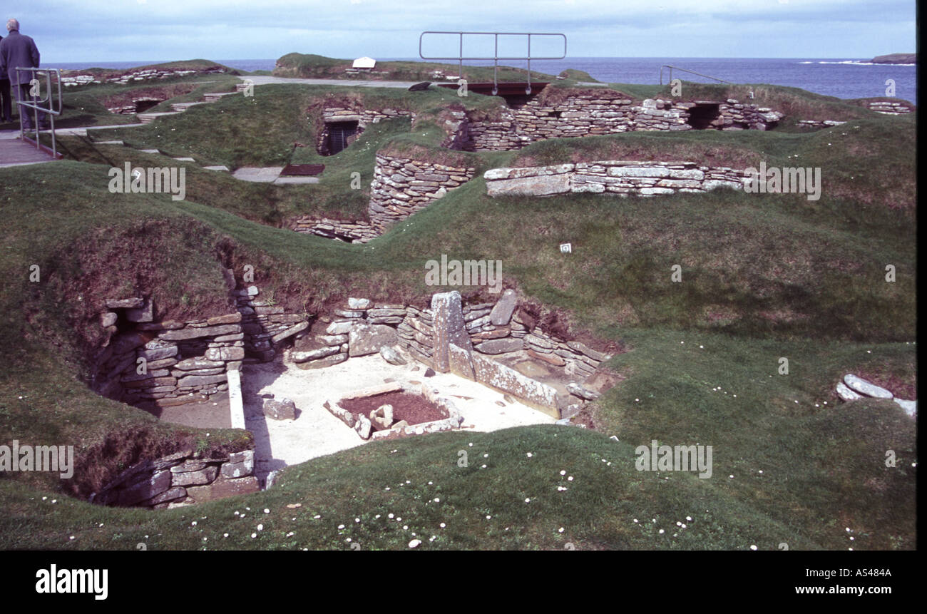 Skara Brae Stone Age village in Orkney Scotland and a World Heritage Site - Stock Image
