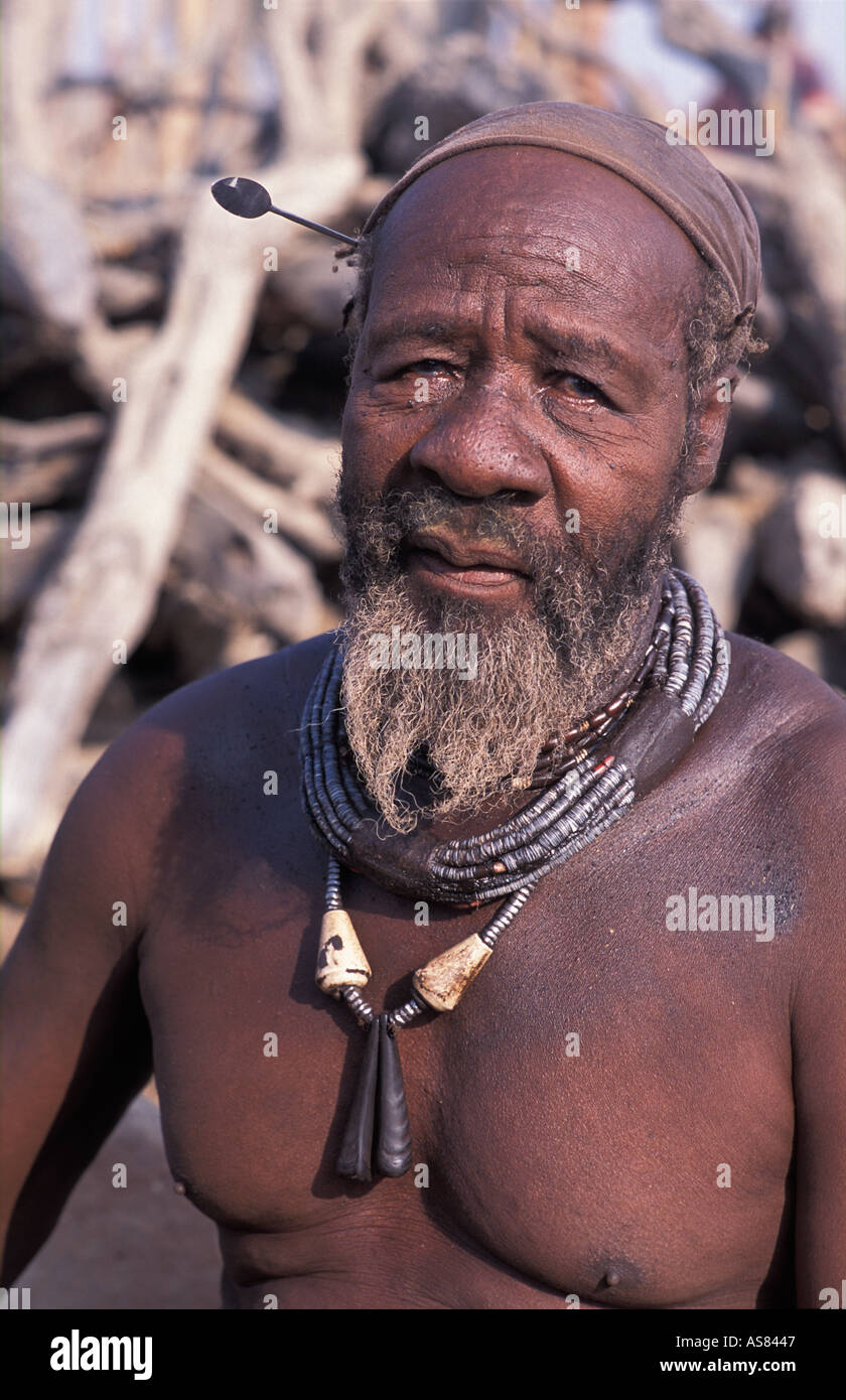Himba Chief Kaokoveld tribal areas North west of Opuwo Namibia - Stock Image