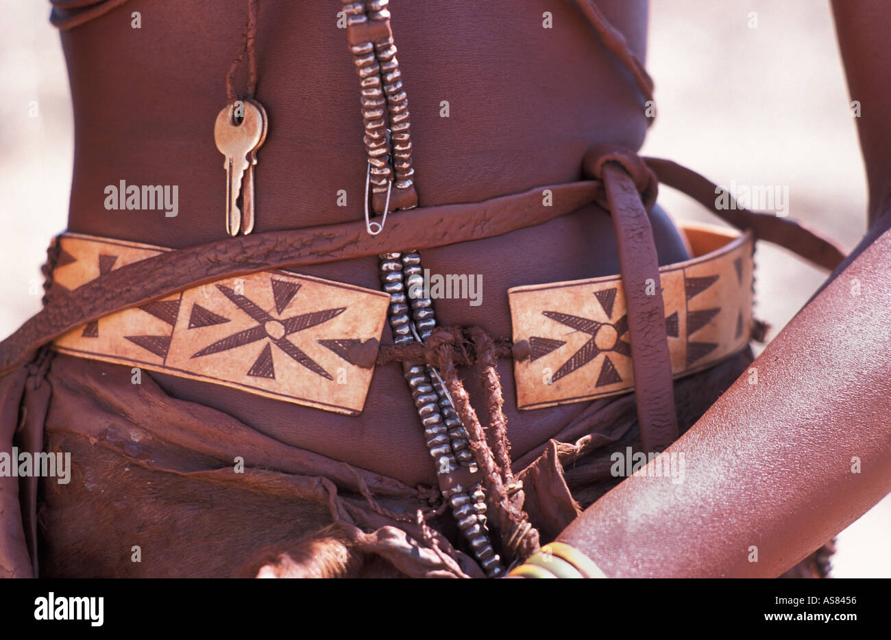 Himba woman and her distinctive hair decoration and adornments Kaokoveld south of Opuwo Namibia - Stock Image