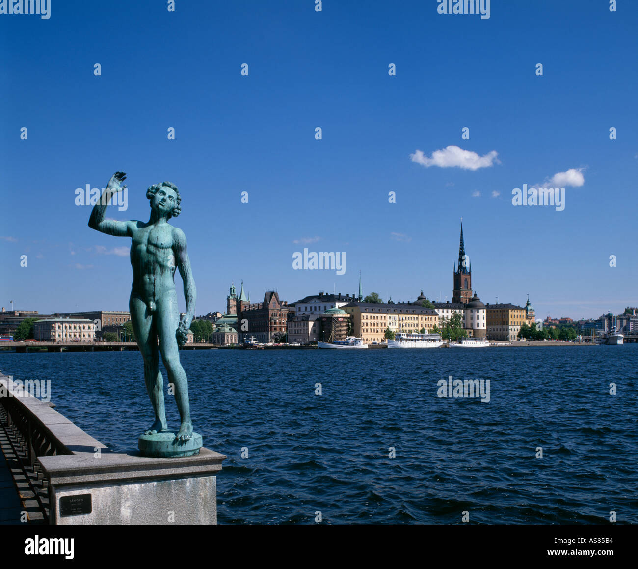 Statue at City Hall and Riddarholmen Stockholm Sweden - Stock Image
