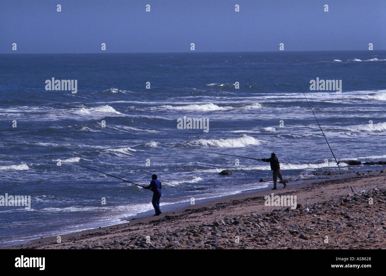 Fishing is an immensely popular sport in Namibia North of Swakopmund on the Skeleton coast - Stock Image
