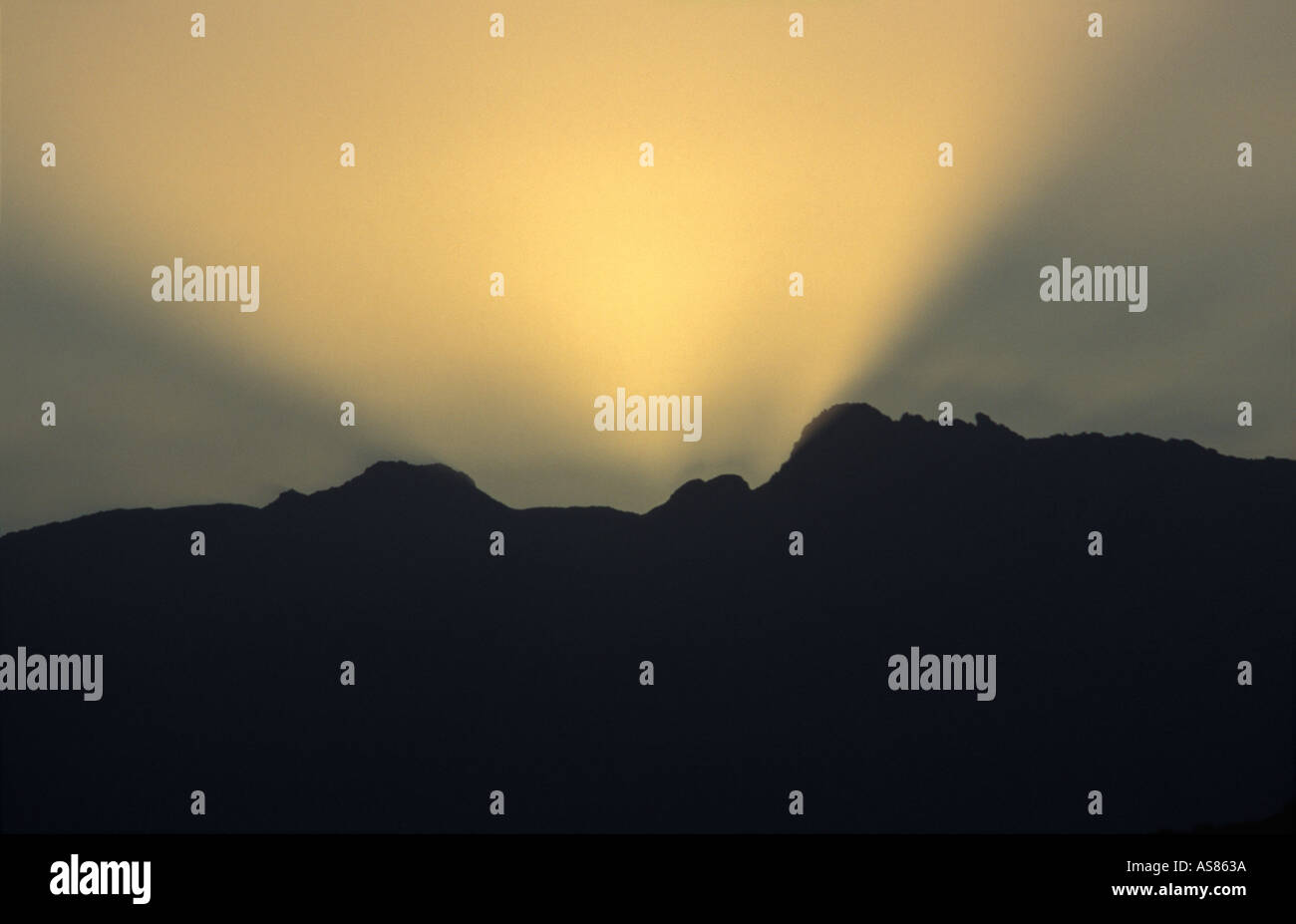 The Brandberg mountains at Sunset viewed from the mining town of Uis Namibia - Stock Image