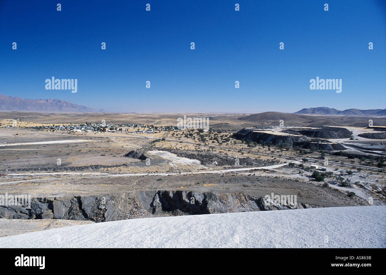 The ex mining town of Uis viewed from the top of the waste heap Namibia - Stock Image