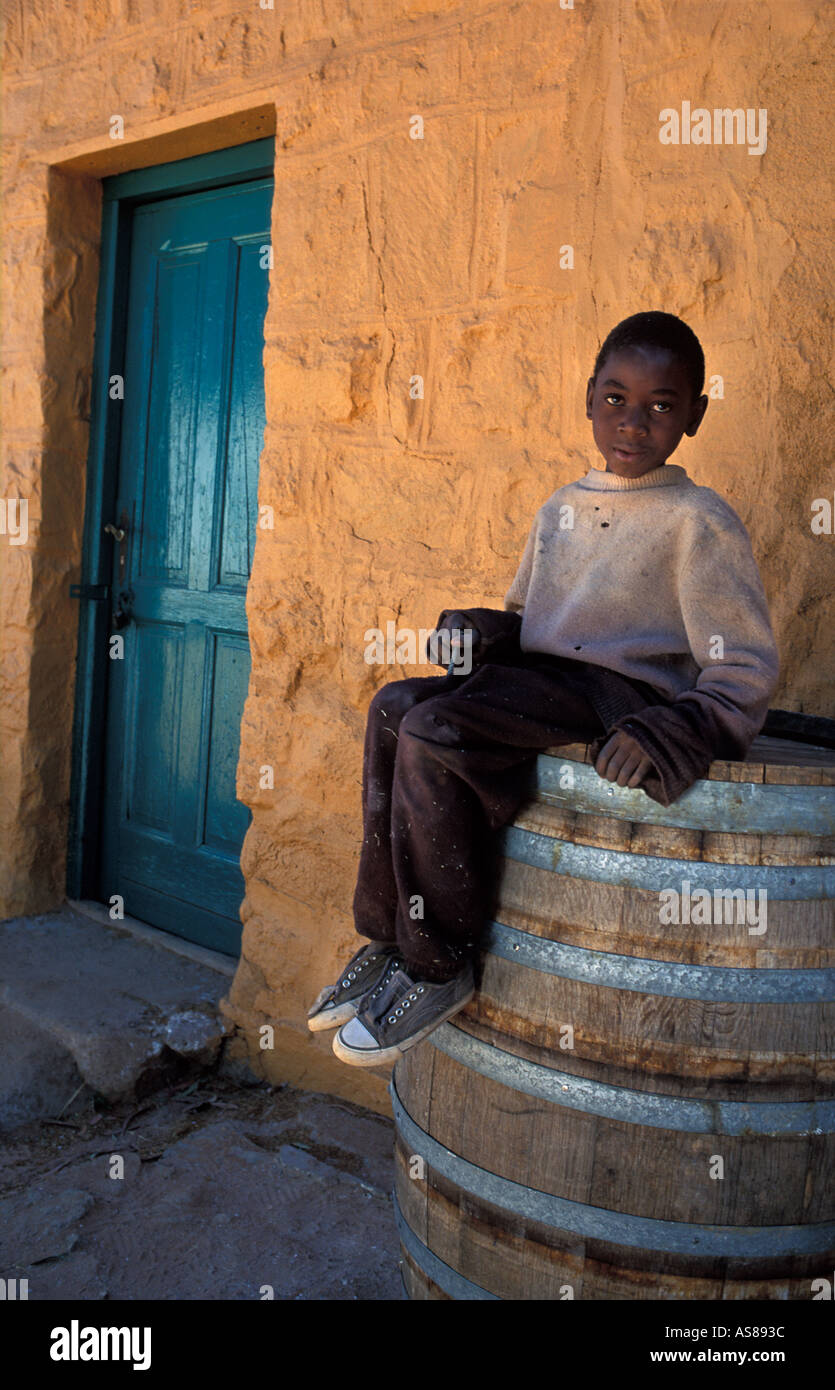 Portrait of a local boy Fulmer Namibgrens nr Klein Aub on the back rd from Rehoboth to Sesriem Enroute to the dunes Namibia - Stock Image