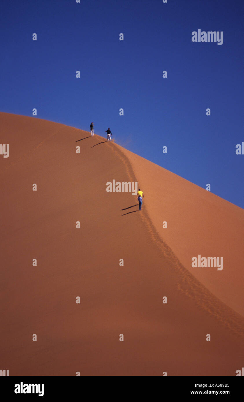 Dune 45 travellers climbing the sand dune Namib Naukluft National Park Namibia Stock Photo
