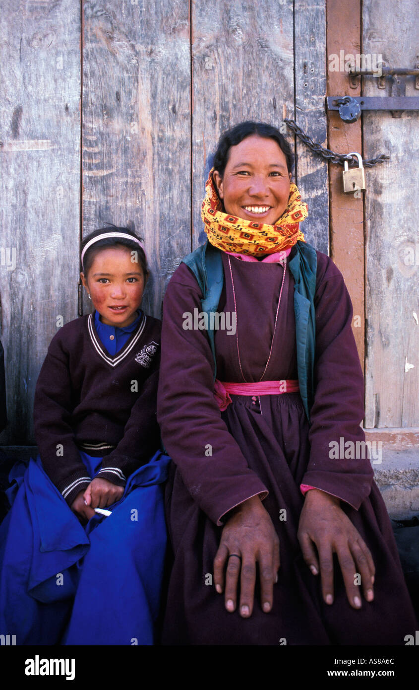 Ladakhi mother child at central market Leh Ladakh An area with a mainly Tibetan Buddhist population - Stock Image